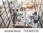 multiracial young creative... | Shutterstock . vector #741463735