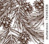 vintage pine tree illustration. ... | Shutterstock .eps vector #741465328