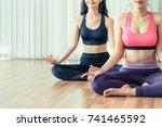 women practicing yoga pose in...   Shutterstock . vector #741465592