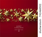 red christmas background with... | Shutterstock .eps vector #741468502