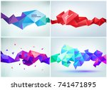 vector set of faceted 3d... | Shutterstock .eps vector #741471895