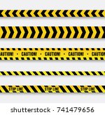 danger and police line. yellow... | Shutterstock .eps vector #741479656