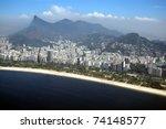 Aerial view of mountains and sea in Rio de Janeiro - stock photo