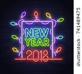 Happy New Year Neon Sign. Nigh...