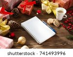 christmas gifts presents  wish ... | Shutterstock . vector #741493996
