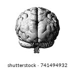 engraving monochrome brain in... | Shutterstock .eps vector #741494932