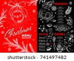 christmas food menu for... | Shutterstock .eps vector #741497482