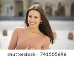 closeup portrait of a happy... | Shutterstock . vector #741505696