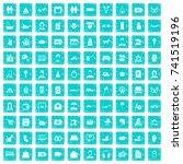 100 family icons set in grunge... | Shutterstock .eps vector #741519196