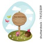 wooden board over cute nature... | Shutterstock .eps vector #74152309