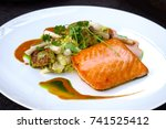 grilled salmon with fresh... | Shutterstock . vector #741525412