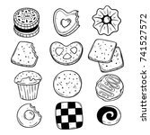 set of cookie and biscuit sweet ... | Shutterstock .eps vector #741527572