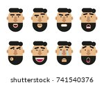 flat icons with human emotions. ... | Shutterstock .eps vector #741540376