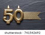gold number 50 celebration... | Shutterstock . vector #741542692