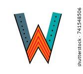 letter w from english alphabet. ... | Shutterstock .eps vector #741548506