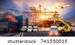 logistics and transportation of ... | Shutterstock . vector #741550015