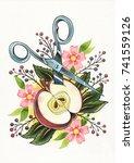 handmade watercolor artwork on... | Shutterstock . vector #741559126