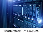 data center with hard drives | Shutterstock . vector #741561025