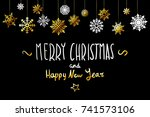 vector merry christmas and... | Shutterstock .eps vector #741573106