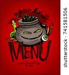 halloween menu card design... | Shutterstock .eps vector #741581506