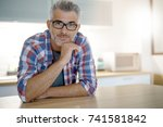 middle aged man with grey hair... | Shutterstock . vector #741581842