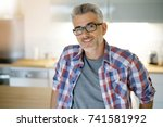 smiling 40 year old man... | Shutterstock . vector #741581992