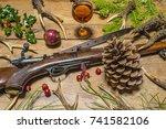 hunter's christmas roe anters ...   Shutterstock . vector #741582106