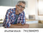 middle aged man with grey hair... | Shutterstock . vector #741584095