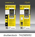 mobile apps roll up banner... | Shutterstock .eps vector #741585052