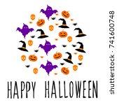 happy halloween card template.... | Shutterstock .eps vector #741600748