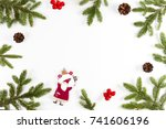 christmas background with fir... | Shutterstock . vector #741606196