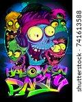 halloween party vector poster... | Shutterstock .eps vector #741613588