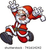 santa claus running scared with ... | Shutterstock .eps vector #741614242