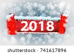 2018 new year on ice frosted...   Shutterstock .eps vector #741617896