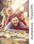 playful family having fun an...   Shutterstock . vector #741621595