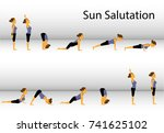 yoga. sun salutation. vector... | Shutterstock .eps vector #741625102