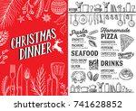 christmas food menu for...   Shutterstock .eps vector #741628852