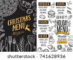christmas food menu for... | Shutterstock .eps vector #741628936