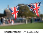 bright union jack flag triangle ... | Shutterstock . vector #741633622