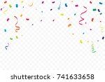 colorful party confetti and... | Shutterstock .eps vector #741633658