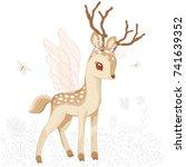 cute bambi cute animal deer... | Shutterstock .eps vector #741639352