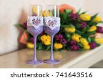 Champagne Glasses Purple With ...