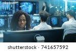 female computer engineer works... | Shutterstock . vector #741657592
