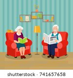 old family on chairs.... | Shutterstock .eps vector #741657658
