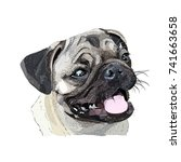 dog vector pug head avatar | Shutterstock .eps vector #741663658