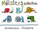cute little monsters | Shutterstock .eps vector #74166376