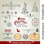 christmas design elements | Shutterstock .eps vector #741668128
