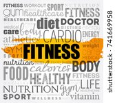 fitness word cloud collage ... | Shutterstock .eps vector #741669958