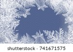 2018 new year on ice frosted... | Shutterstock .eps vector #741671575