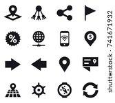 16 vector icon set   pointer ... | Shutterstock .eps vector #741671932